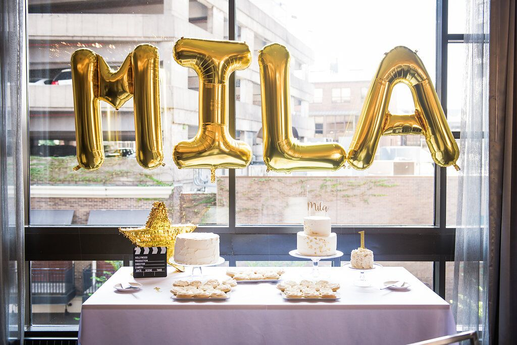 Gold Party Name Balloons  Hollywood Award Show Birthday Party  Planning by Wrap It Up Parties