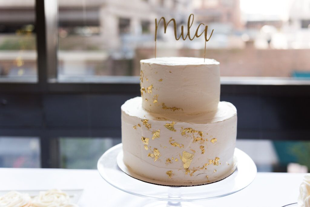 White and Gold Birthday Cake  Planning by Wrap It Up Parties