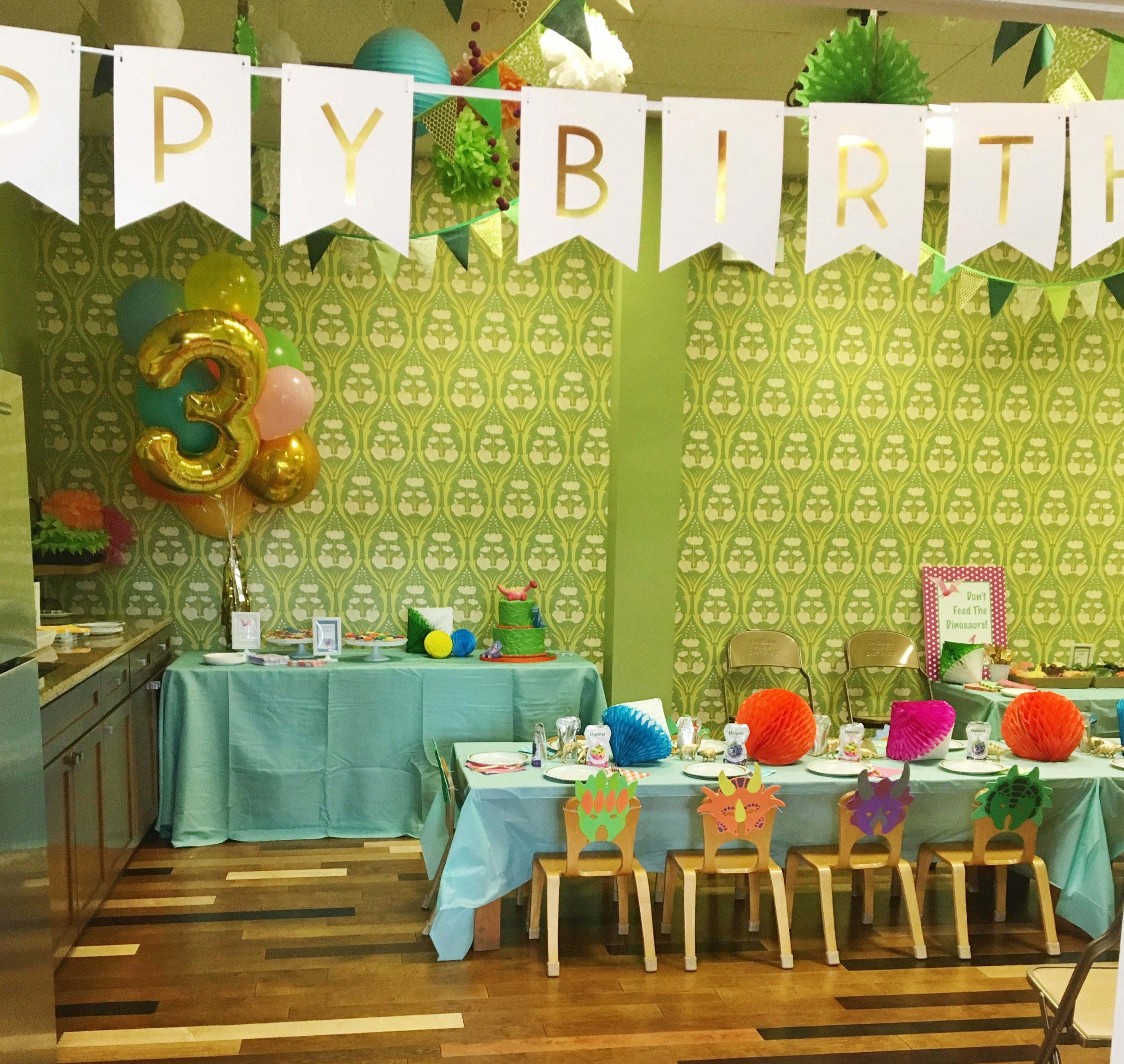 Third Birthday Party Decor  Dinosaur Theme Birthday Party  Planning by Wrap It Up Parties