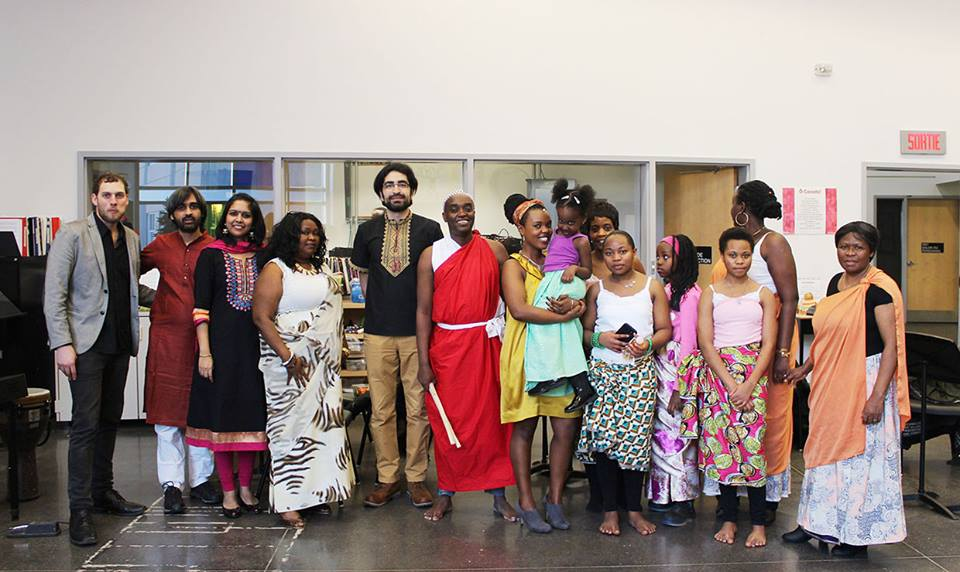 Some of the performers from the International Women's Day celebration, with Janvier (in the middle) who leads the Mutcho Cultural Group.