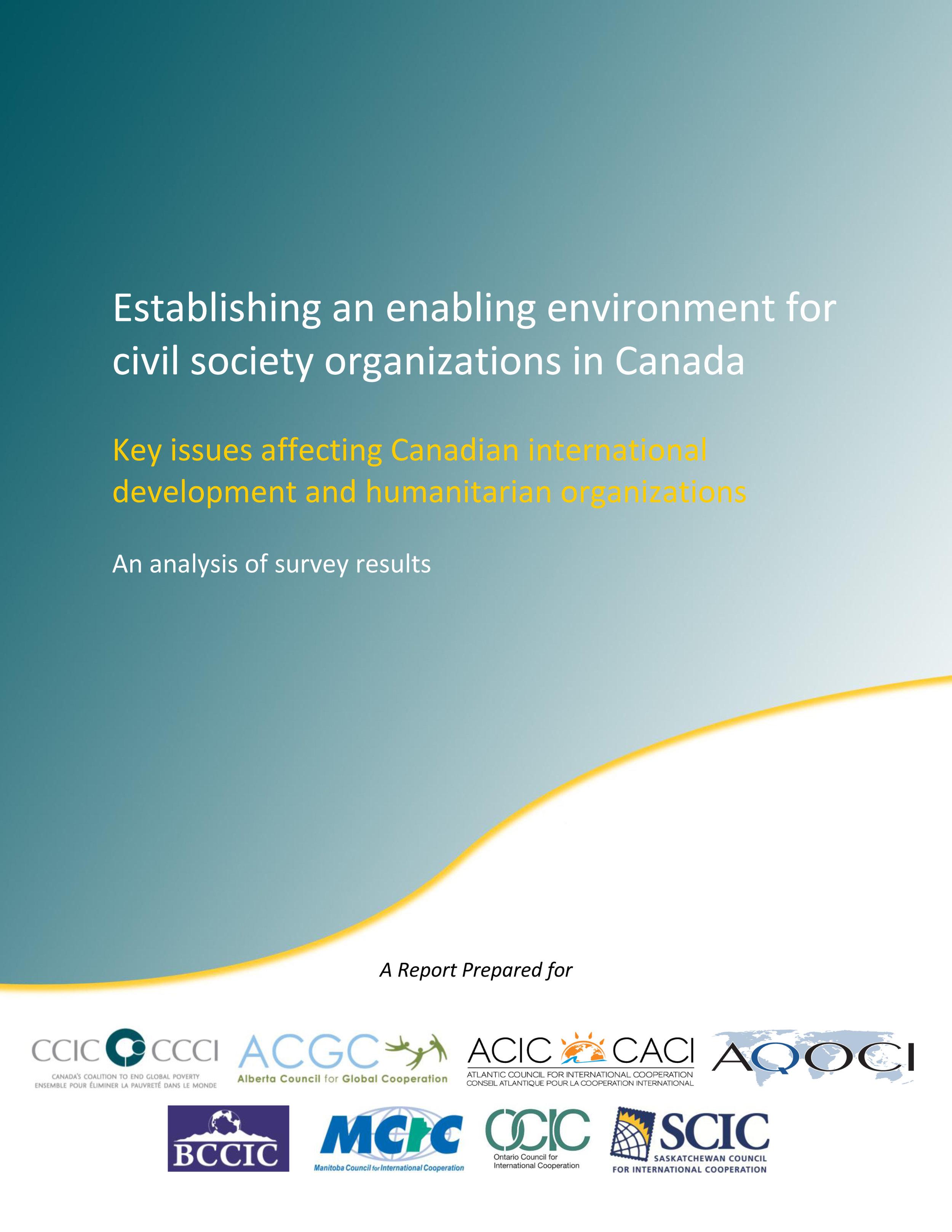 Establishing an enabling environment for civil society organizations in Canada