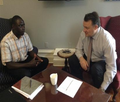 National Program Manager Abdou Kanteh with Halifax Mayor Mike Savage.