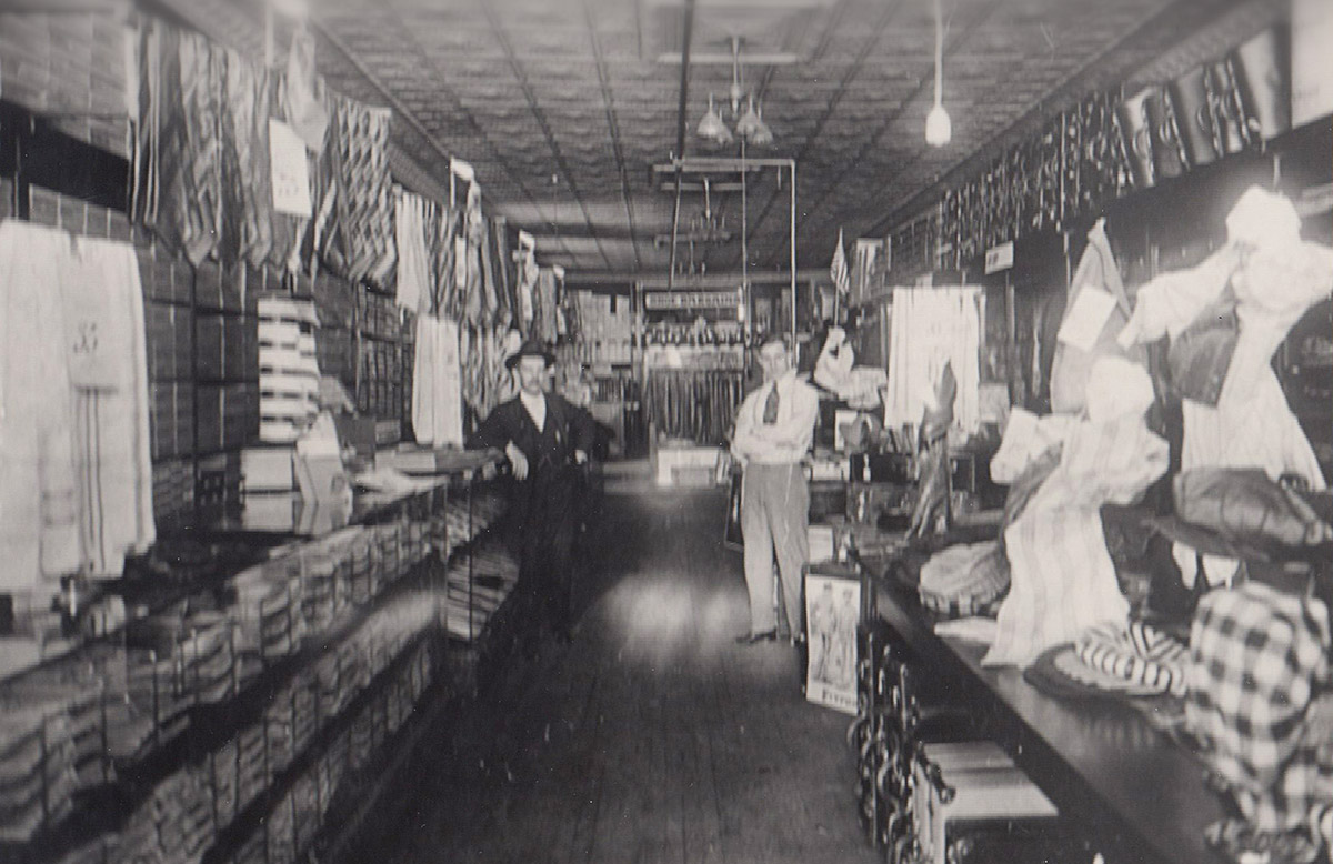 Joe and Hiram Hirschfeld pose in the clothing store they purchased in 1917 in North Platte. The original store was located on Sixth and Dewey, where the parking lot of the former ALCO building is now.