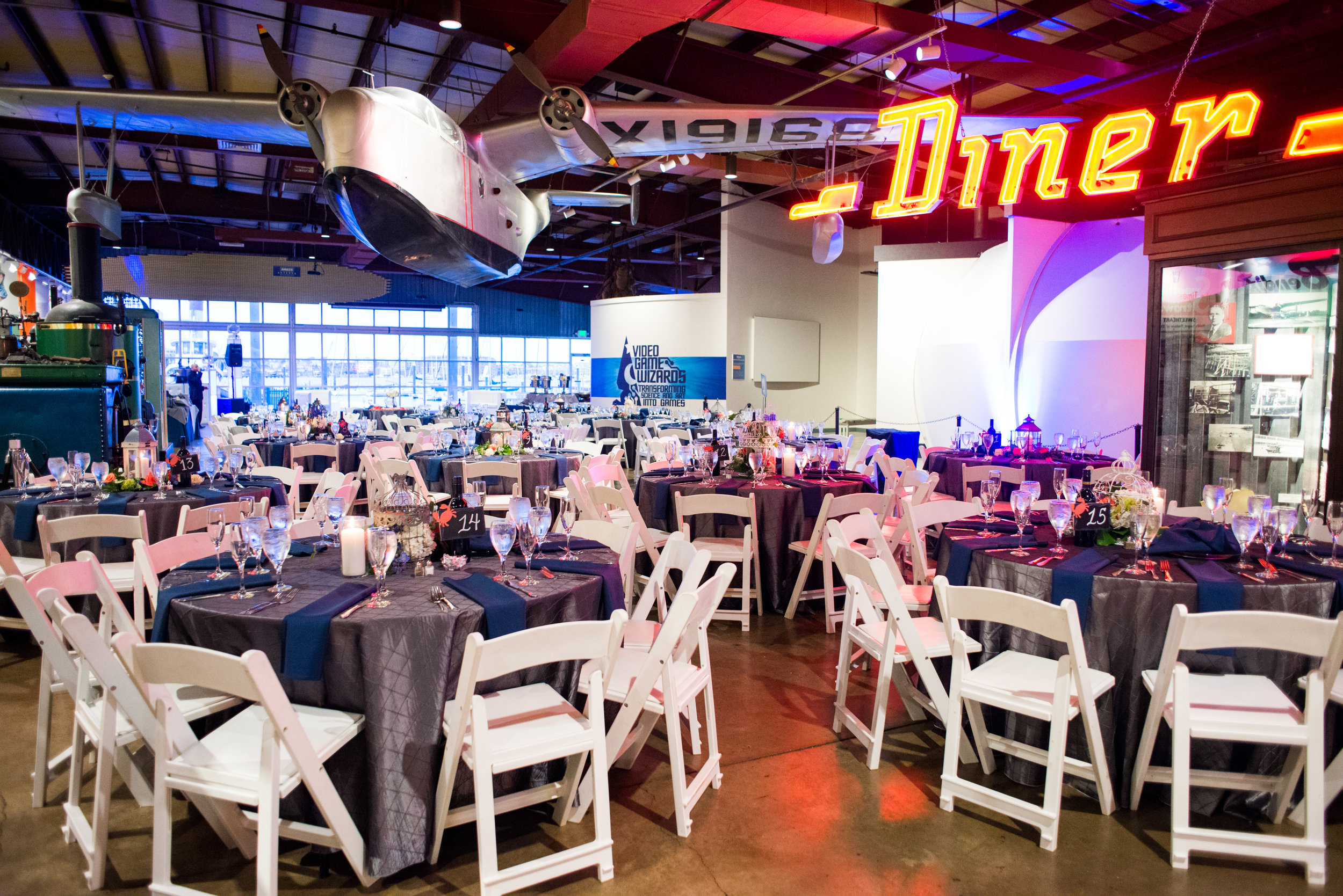 The Baltimore Museum of Industry set up for a wedding reception