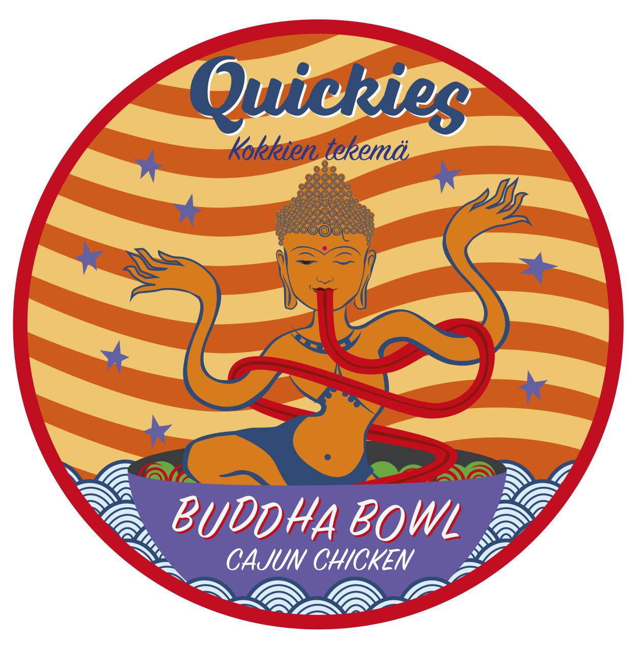 Quickies Buddha Bowl - Cajun Chicken  (gluten-free, dairy-free) 425g  Riisinuudeli,gluteeniton  soija kastike, seesaminsiemen,  bataatti, öljy (rypsi, oliivi), chili,  valkosipuli , valkoviinietikka, sokeri, suola, tomaatti, ruohosipuli, persilja, timjami, sitruuna, lime,  punasipuli , kikherne, cajun-mauste ( valkosipuli- jauhe, cayannepippuri,  paprika , mustapippuri, oregano), porkkana, kaneli,  hummus ( kikherne,  tahini ( seesamin-siemen ), kumina), kvinoa, herkkusieni, balsamico, punajuuri, kurpitsansiemen, broileri 12% (suomi)  Per 100g: energia, laskennallinen (kj) 628,23, (kcal) 150,15 | hiilihydraatti imeytyvä 16,27 joista sokereita 2,44 | rasva (g) 6,23 | proteiini (g) 5,92 | kuitu, kokonais- (g) 2,37