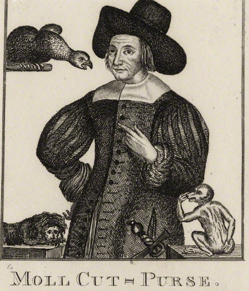 Engraving of Mary Frith in doublet and hat, with a bird and a monkey