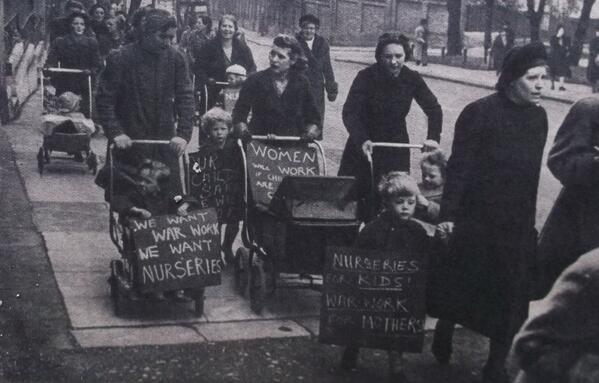 Women in Hampstead marching for the opening of more Day Nurseries. ©  Home Front Museum