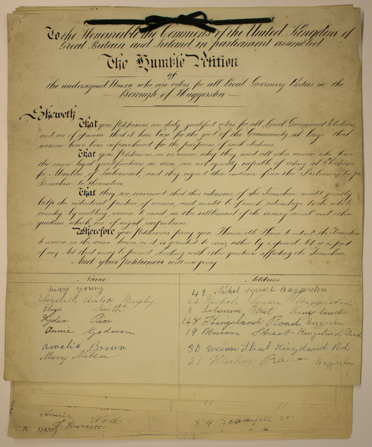 This petition has been recently conserved by  Hackney Archives  and the National Conservation Service to commemorate the centenary of The Representation of the People Act (1918).