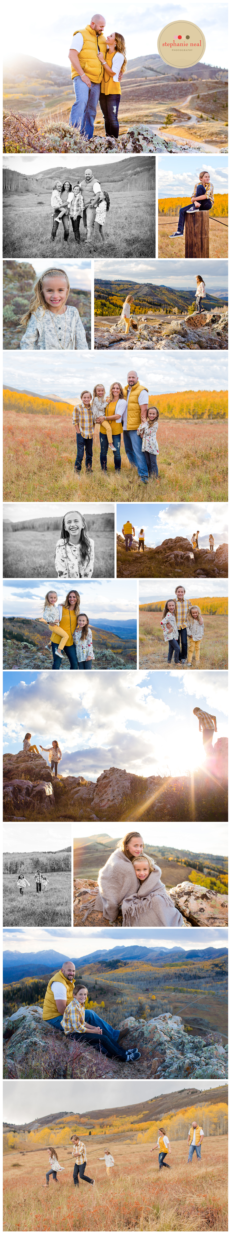 Deer Valley, Utah Fall Family Portrait session in the mountains.
