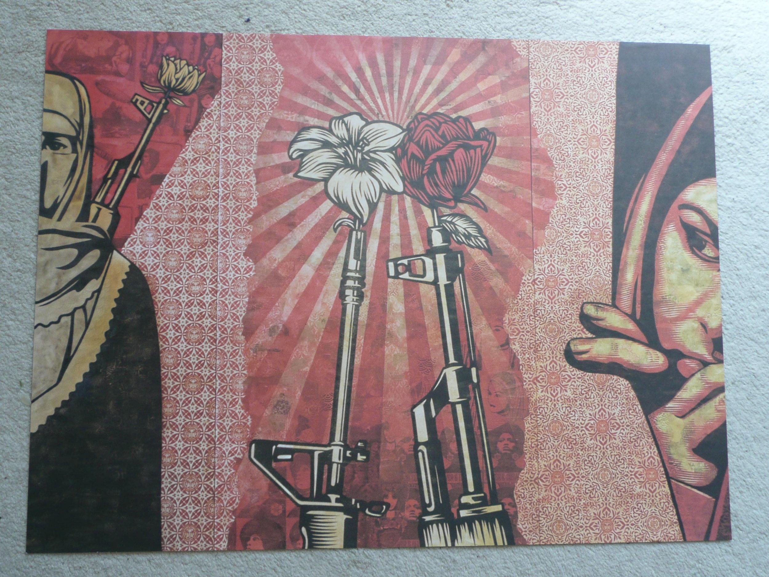 Shepard Fairey Peace Goddess RARE GOLD STICKER obey giant print banksy Pop Art