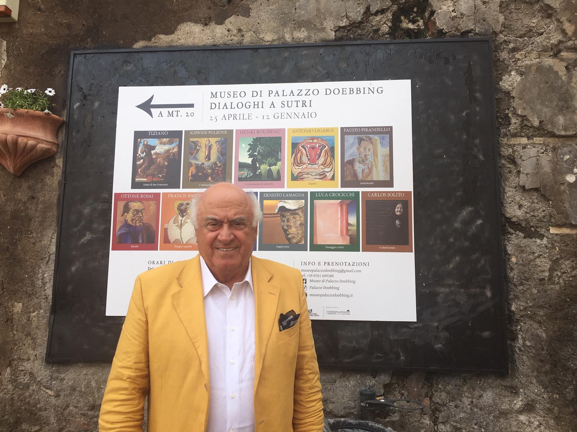 Augusto Agosta Tota all'inaugurazione della mostra