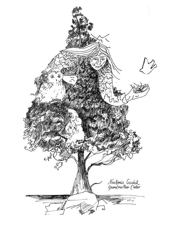 Nookomis drawing by Patti Cauldwell