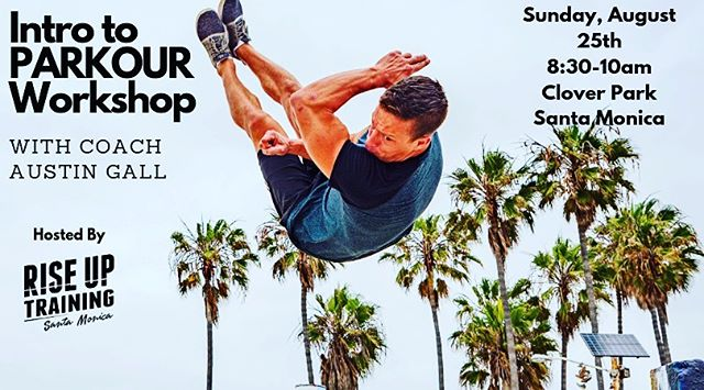 💥SUNDAY!!💥 Learn how to scale tall walls safely and with ease at our Intro to Parkour Workshop, led by Coach @austingpk!  In this workshop, you'll learn how to practice safe ascent and descent from walls that are above head height. At the end, you will feel like you can comfortably get on top of walls and platforms that are one to two feet above your standing reach. Sound like any @spartan obstacles you know that may have been troubling you?  This event takes place this Sunday at 8:30am at Clover Park in Santa Monica. Advance tickets are $30 - or $40 cash day of. Save some $ and lock in your spot by getting your ticket by Friday!  Link in bio for tickets and details. DM us with questions!