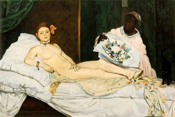 Olympia, Edouard Manet, 1856, oil on canvas, Musée d'Orsay, Paris, France