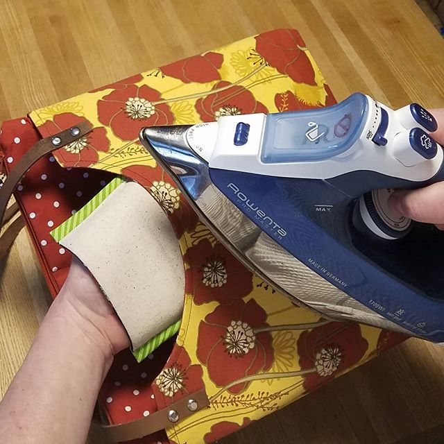 When your project doesn't fit on your pressing surface, reach for a Practically Perfect Pressing Mitt! A double layer of insulated batting protects your hand, and the unbleached osnaburg pressing surface is appropriate for all fabrics. Tuck a Mitt into your suitcase for quick touch-ups when you're traveling! This is a tool that's pretty and so useful!