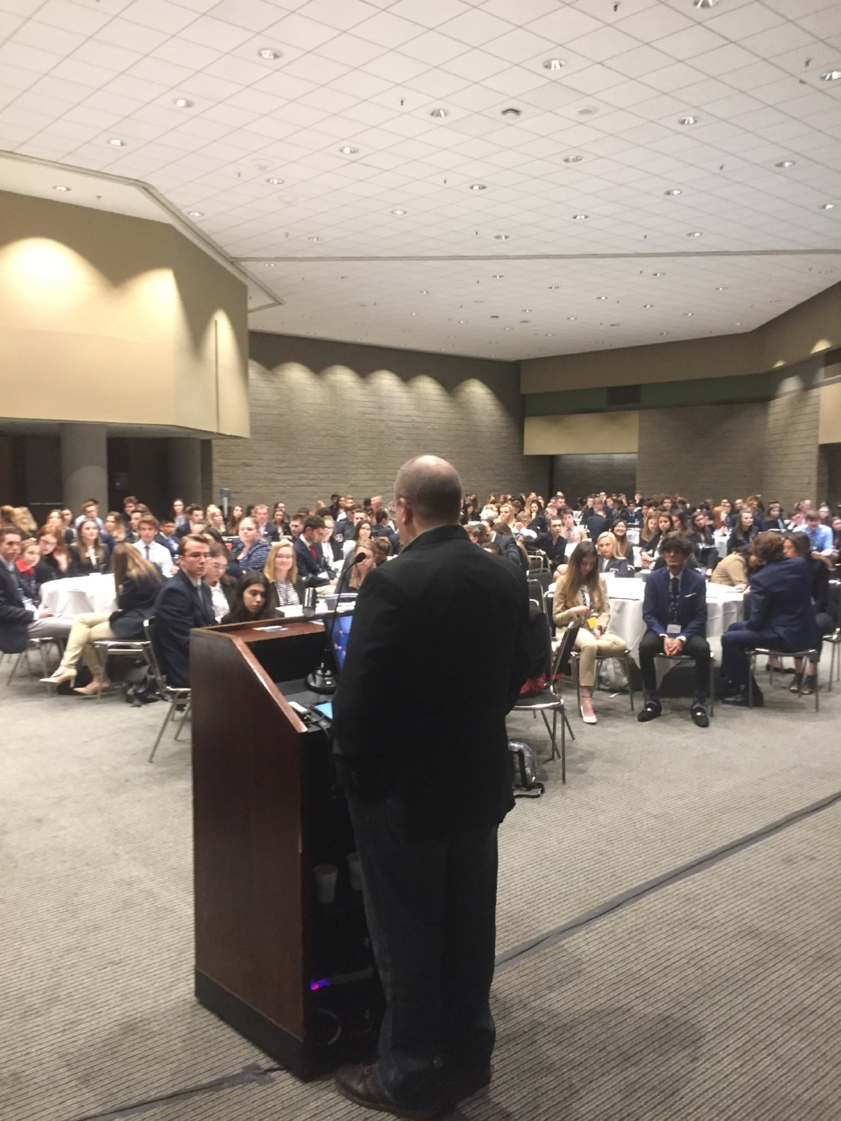 SBE Acadamy - Here's co-owner of Spirit Box, Chris Langston, talking with 400 students about creating a personal vision.All 800 DECA members that attended the SBE Academy (we spoke with two groups of 400) left with a first draft of their personal vision. Carpe Diem!