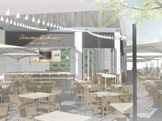An architect's sketch of the outdoor patio at a new Tommy Bahama restaurant in downtown Palm Springs. (Photo: Submitted photo: Tommy Bahama)