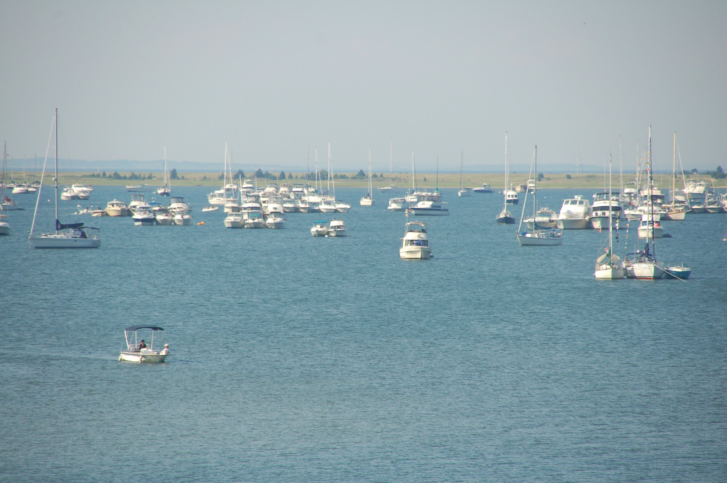 Boats awaiting the Three Mile Harbor fireworks.