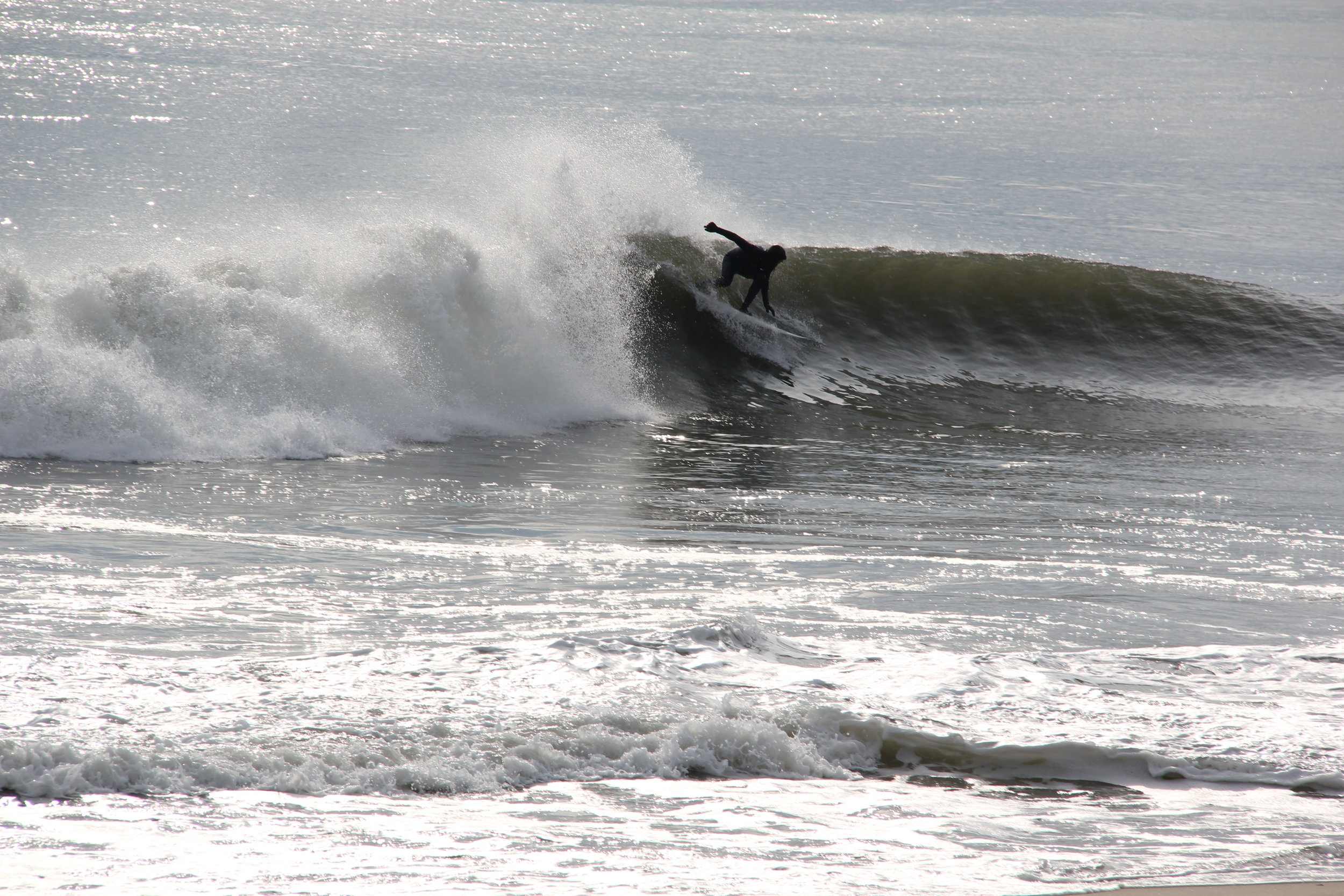 Surfing in Sagaponack after major snowstorm - January 2016