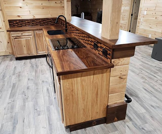 We've done alot of kitchen restorations, but this was our first kitchen we designed and created. We fabricated and installed the black walnut counter/bar top, and finished on site. Turned out great and homeowner was thrilled! #oldpeg #oldpegfurnitureservices #kitchen #kitchencabinets #kitchendesign #woodwork #woodworking #wood #woodcountertop #woodcountertops #backsplash #endgrain #endgrainbacksplash #blackwalnut #walnut #hickory #bartop #gaspipe #footrest #carpentry #customkitchen #bespoke #onsite #onsitefinishing #syracusefurniturerepair #syracuseny #syracusesmallbusiness #cnybusiness #syracusekitchen #newyorkkitchen
