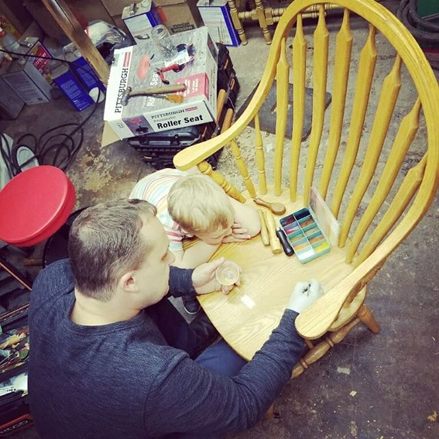 Teaching the next generation how it's done.  #oldpeg #oldpegfurnitureservices #syracusefurniturerepair #syracuseny #syracusesmallbusiness #woodwork #woodworking #furniturerepair #furniturerestoration #furniturerepairshop #furnitureservices #furnituretouchup #onsiterepair #touchup #raisethemright #fatherandson