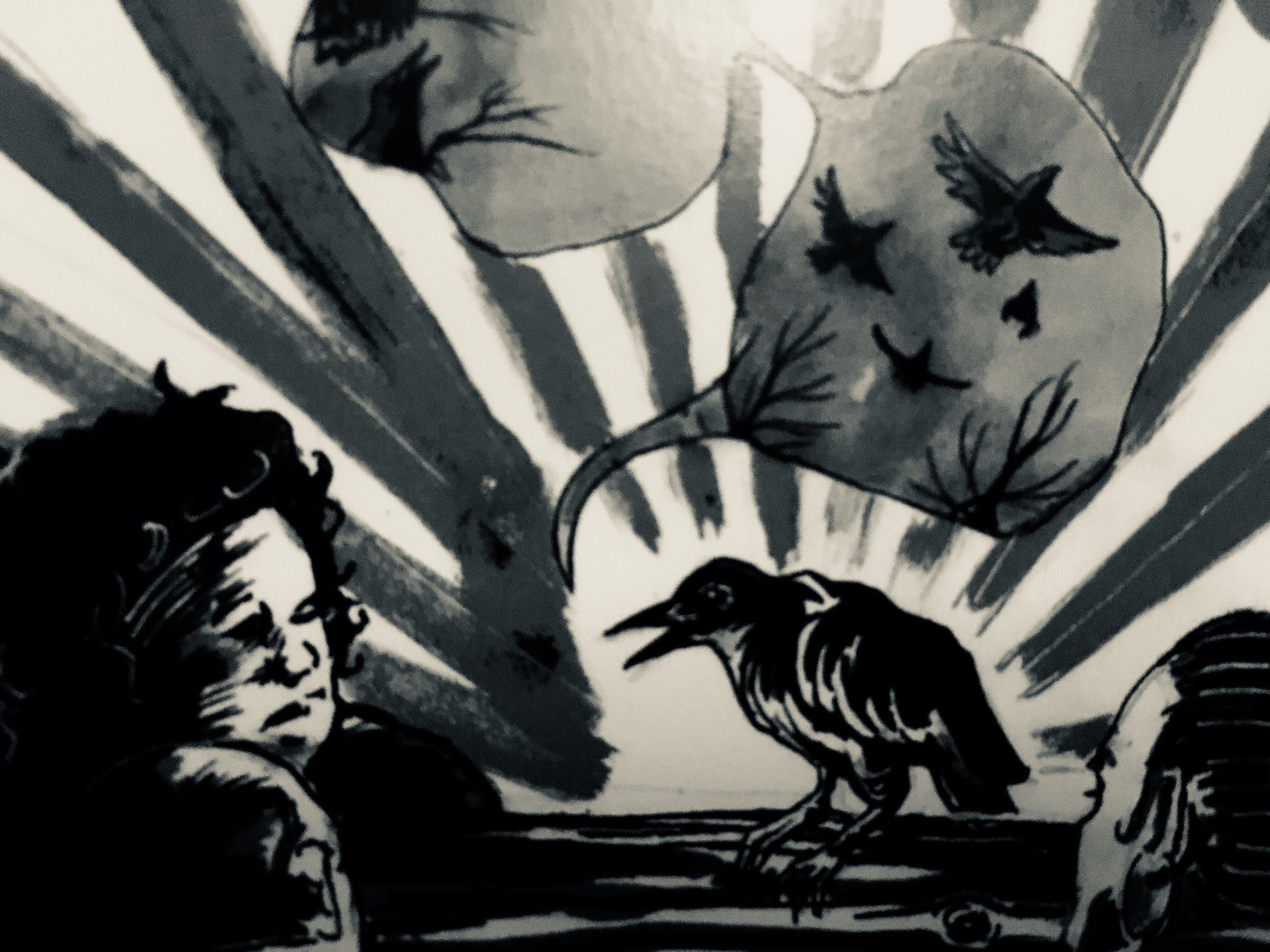 [image description: black & white image of a corvid with an open beak and speech bubbles full of other flying birds against the sky. stripes of light radiate out from the bird and two human heads in the foreground are listening to the bird's stories. photo by hannah harris-sutro / mentor of feathers card by  clio reese sady  in the  collective tarot ]