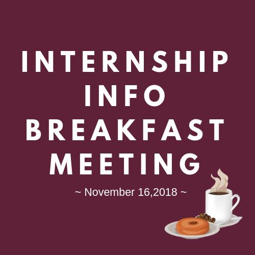 Intern Info Breakfast  Saturday Nov. 17th   The Home