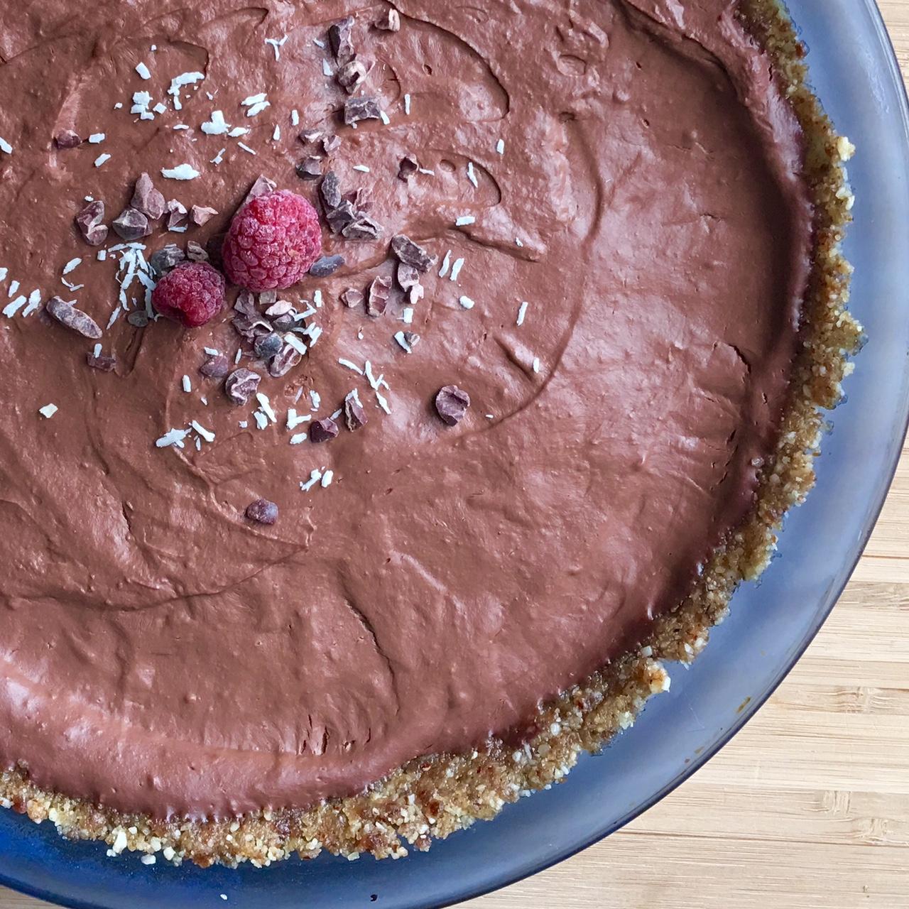 Raspberry chocolate pie - gluten free, vegan, grain free