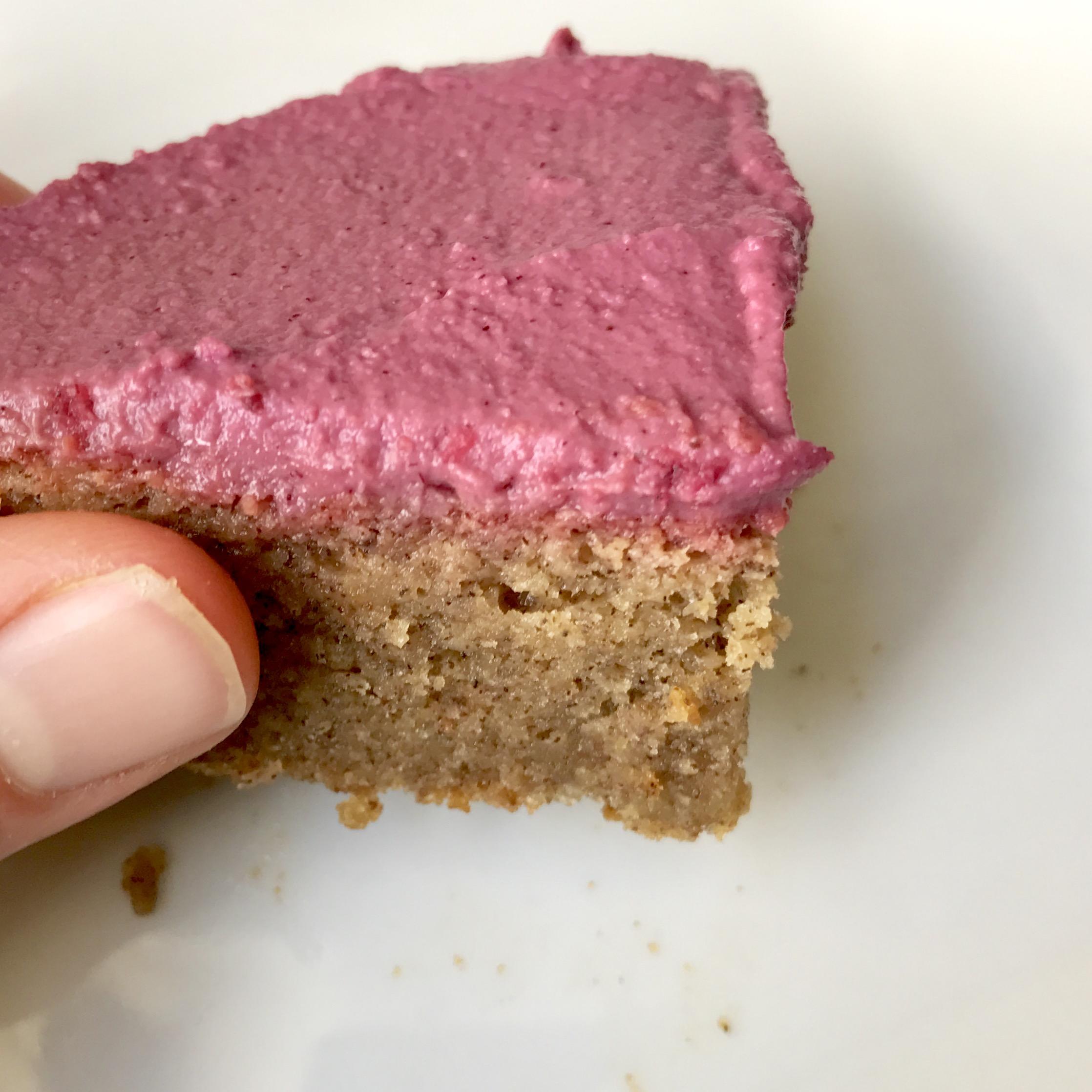 Pink Peppermint Frosted Blondies - gluten free, vegan, paleo