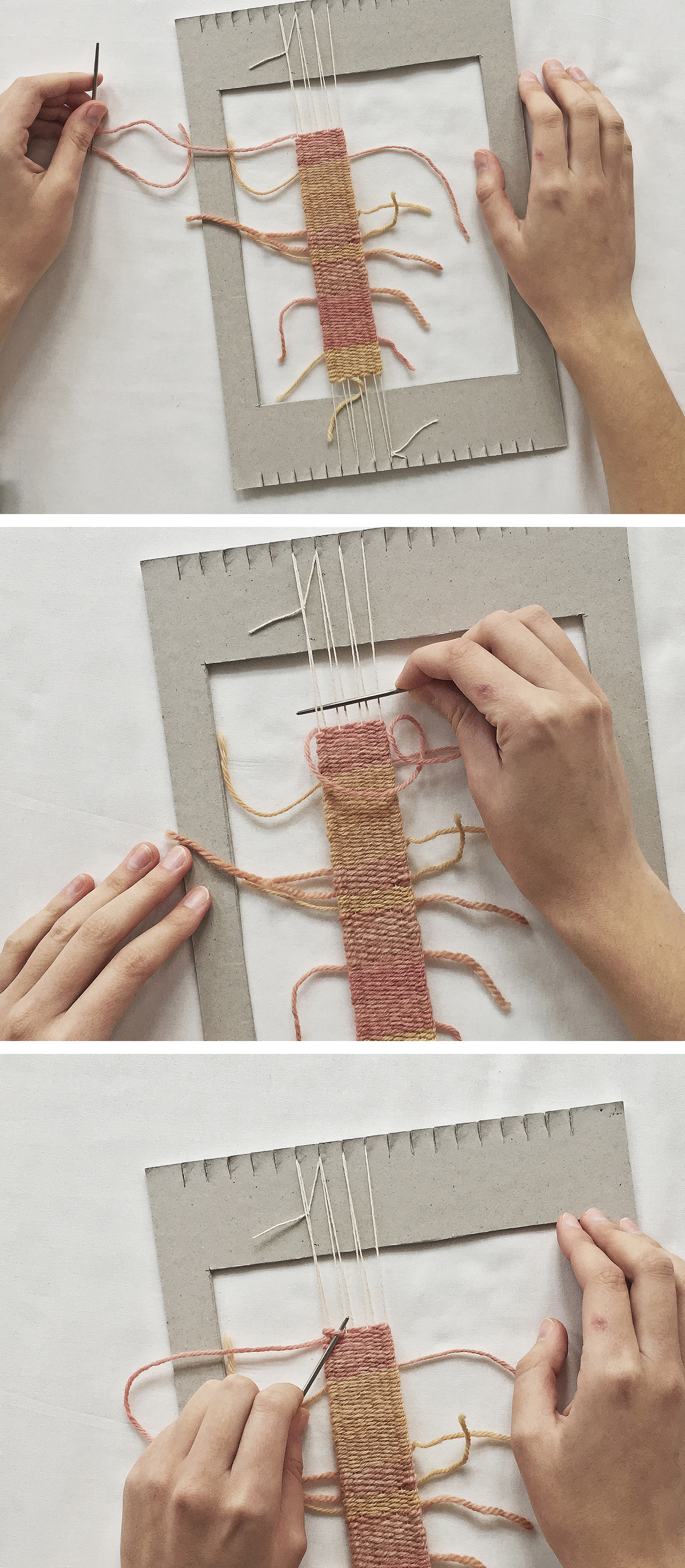 How to weave on a cardboard loom
