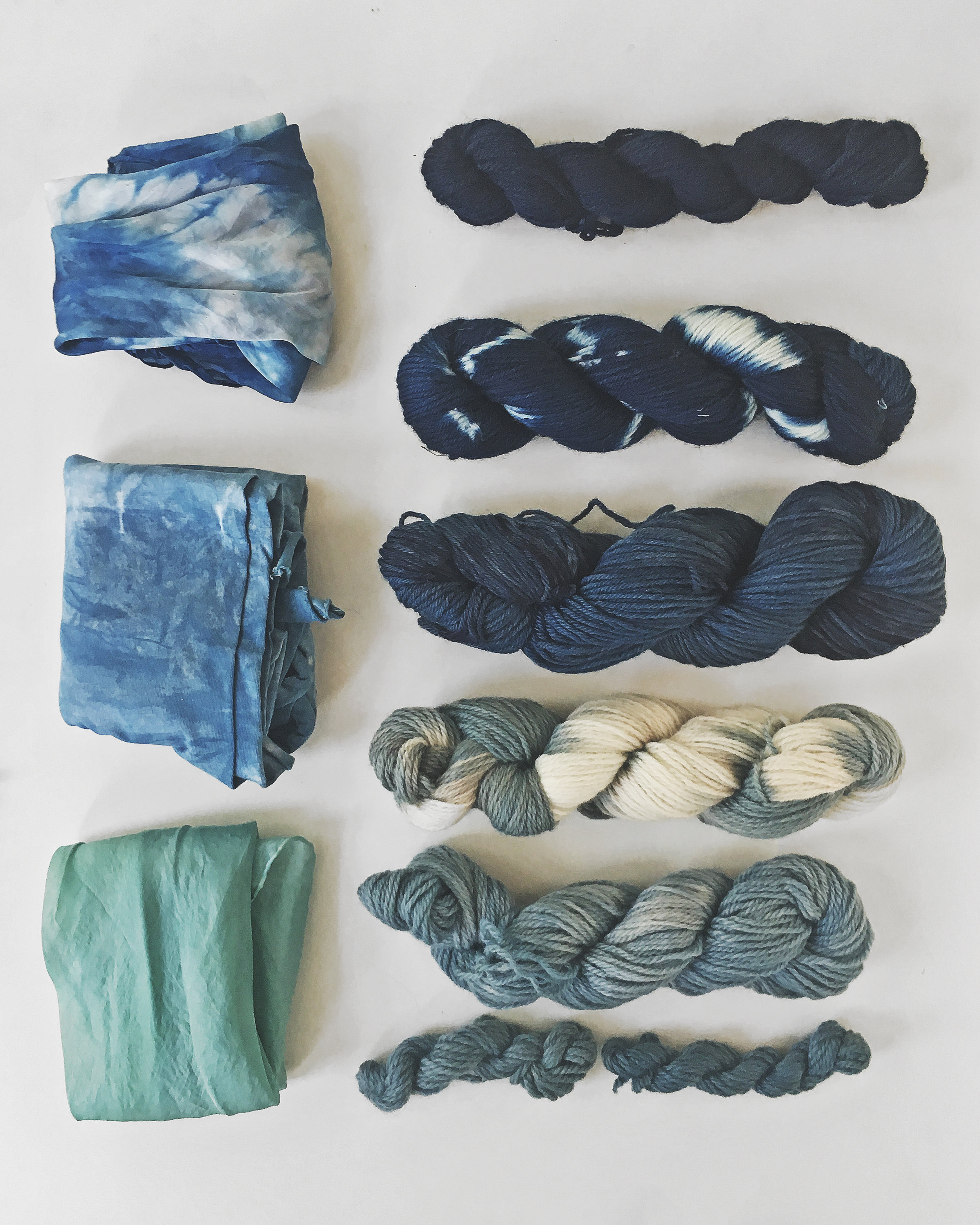 Woad and indigo dye on wool and silk, used fresh leaves and plant extracts. Read more about the recipes at www.kaliko.co