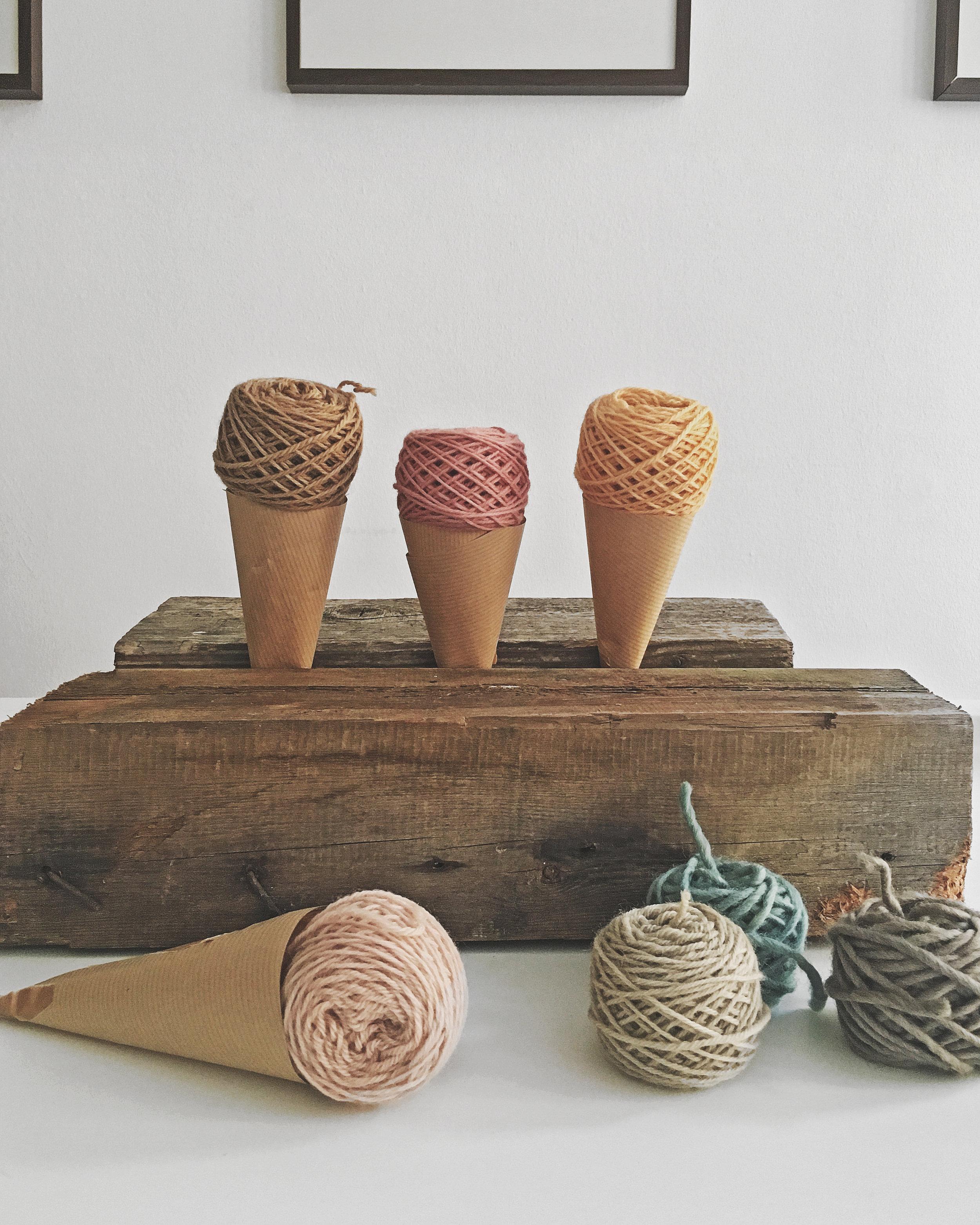 Playing with botanically dyed wool yarn sets