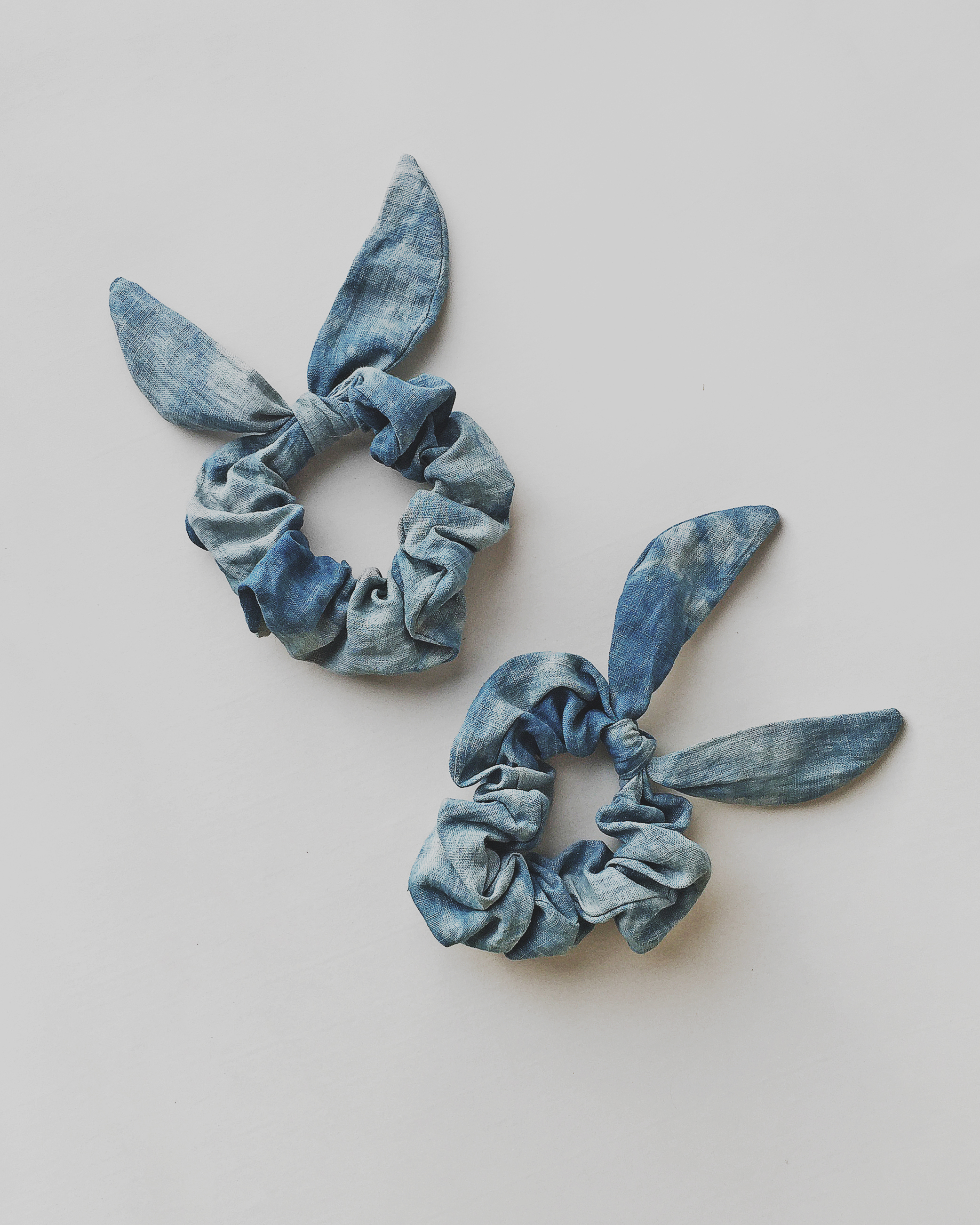 These indigo dyed linen scrunchies are the most sustainable scrunchies ever
