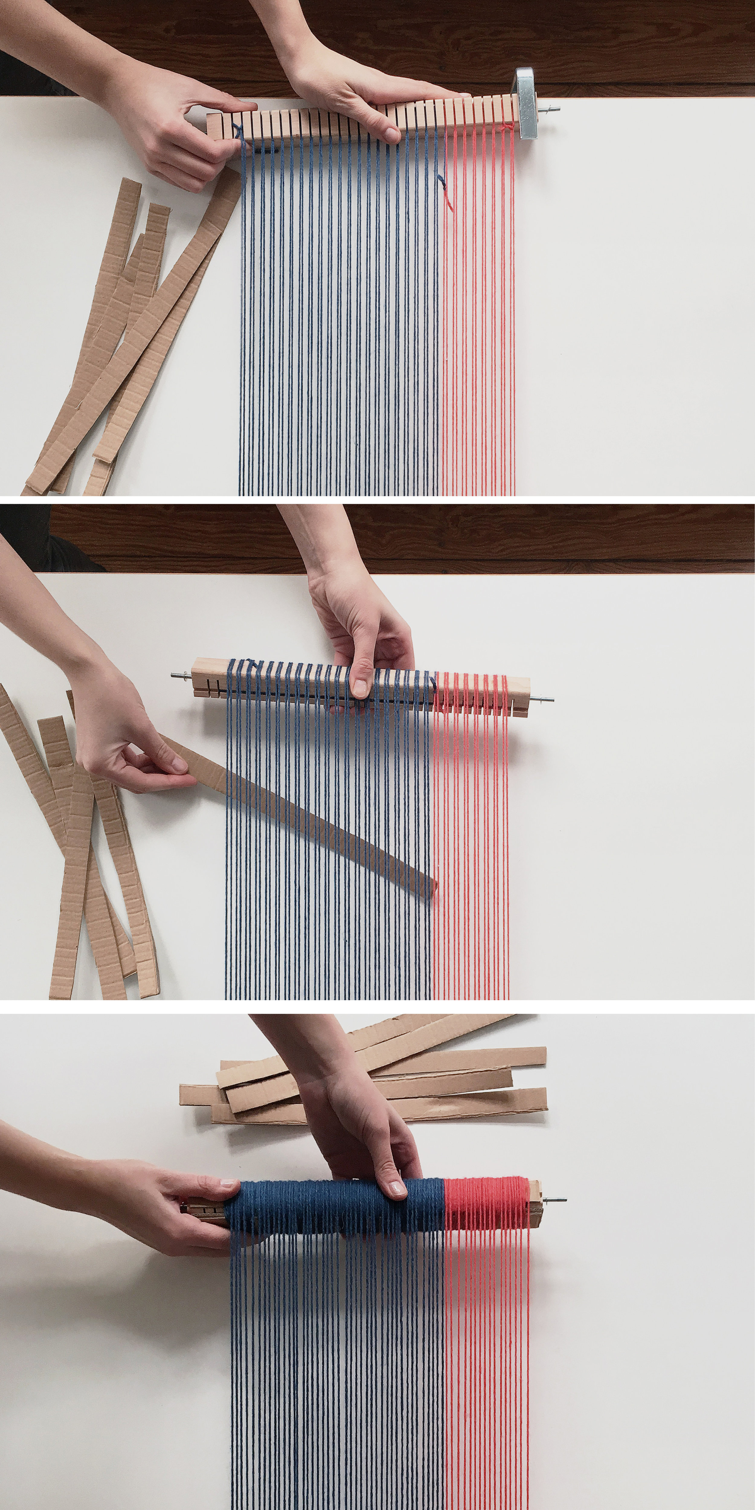 How to weave a scarf on a frame loom. Follow this beginner diy tutorial and learn an easy trick to make your warps long enough. #weaving #frameloom #tutorial #diy5.jpg