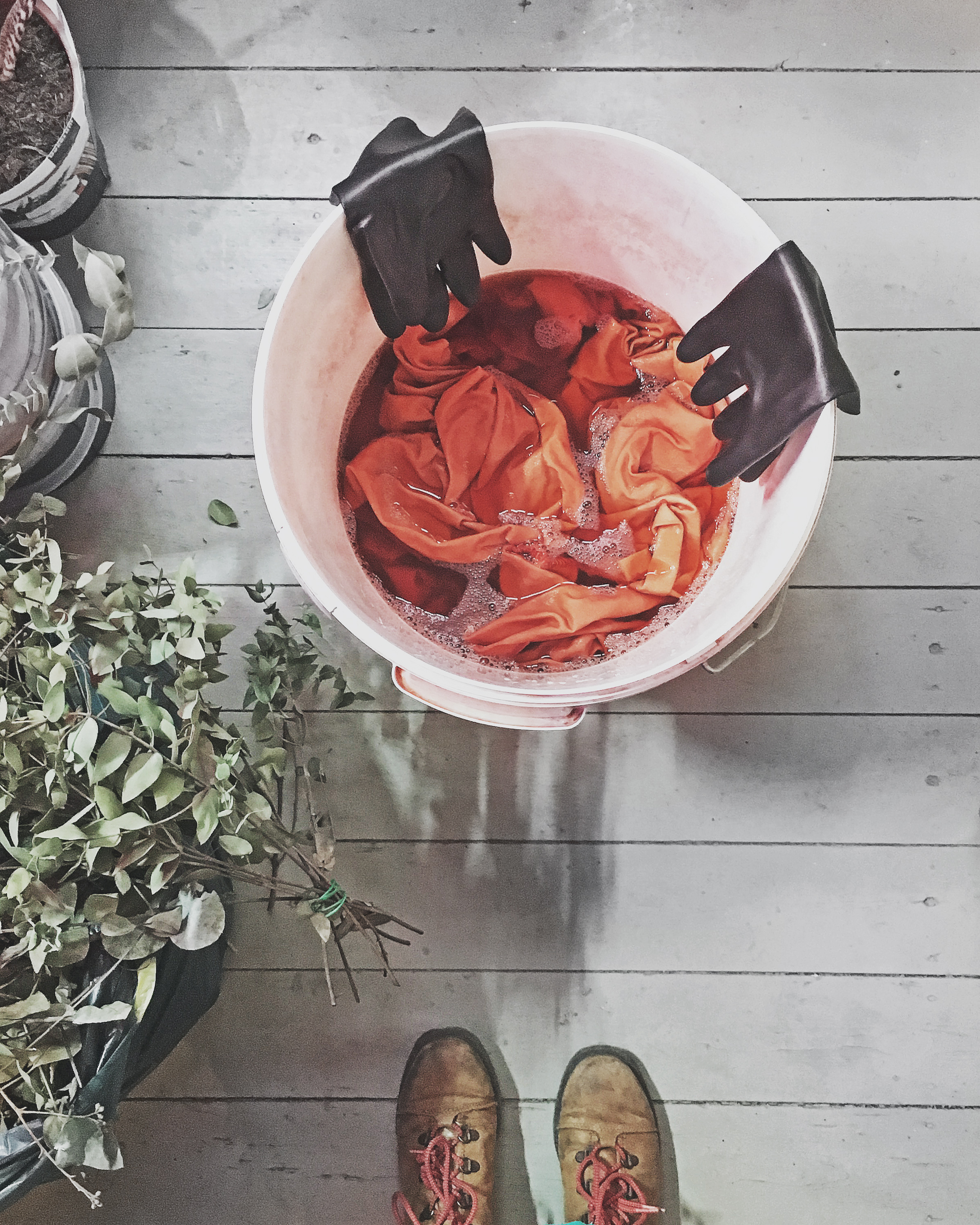Dyeing with madder - dye kitchen notes for extracting colors from plants #dyeing #plantdye #botanicaldye