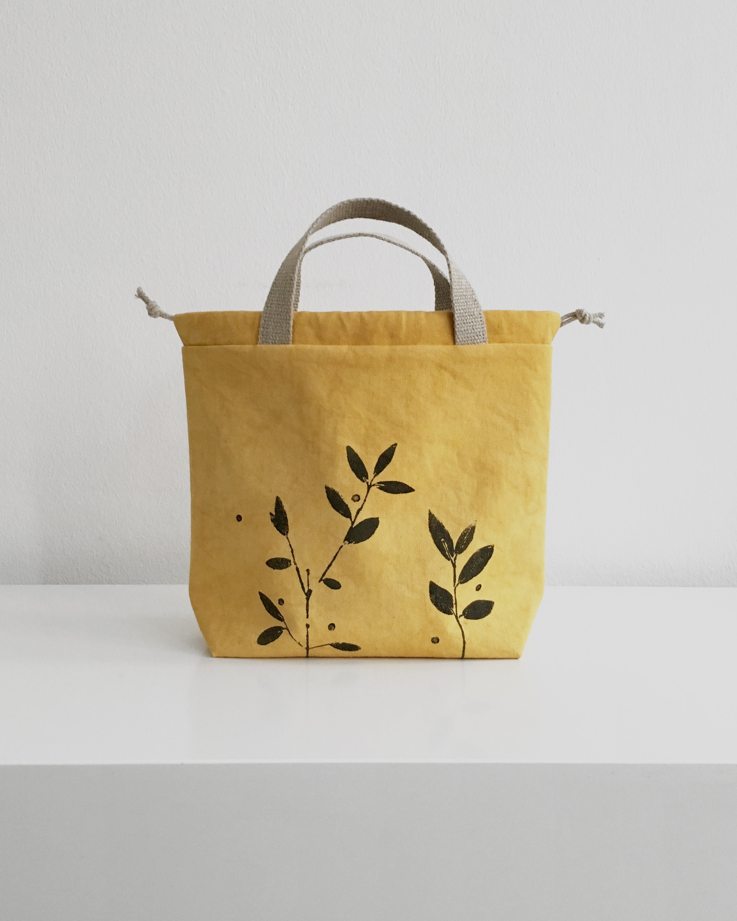 Preorder vegan project bags dyed with plants and stamped by hand