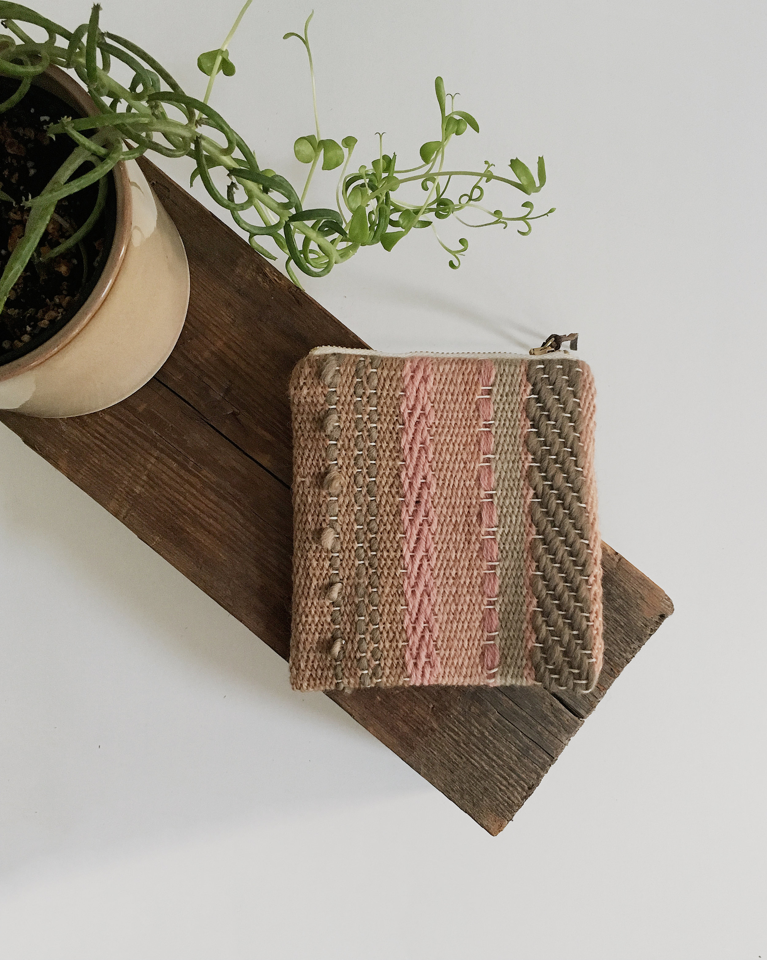 Handwoven pouches dyed with local plants and safely machine stitched - tutorial