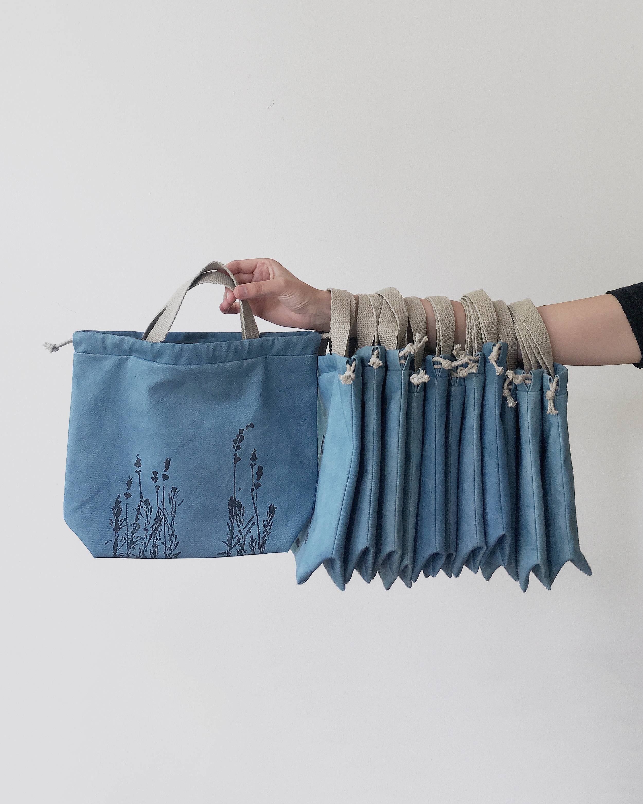 Project bags for Loop London, made by Kaliko and dyed with organic woad vat