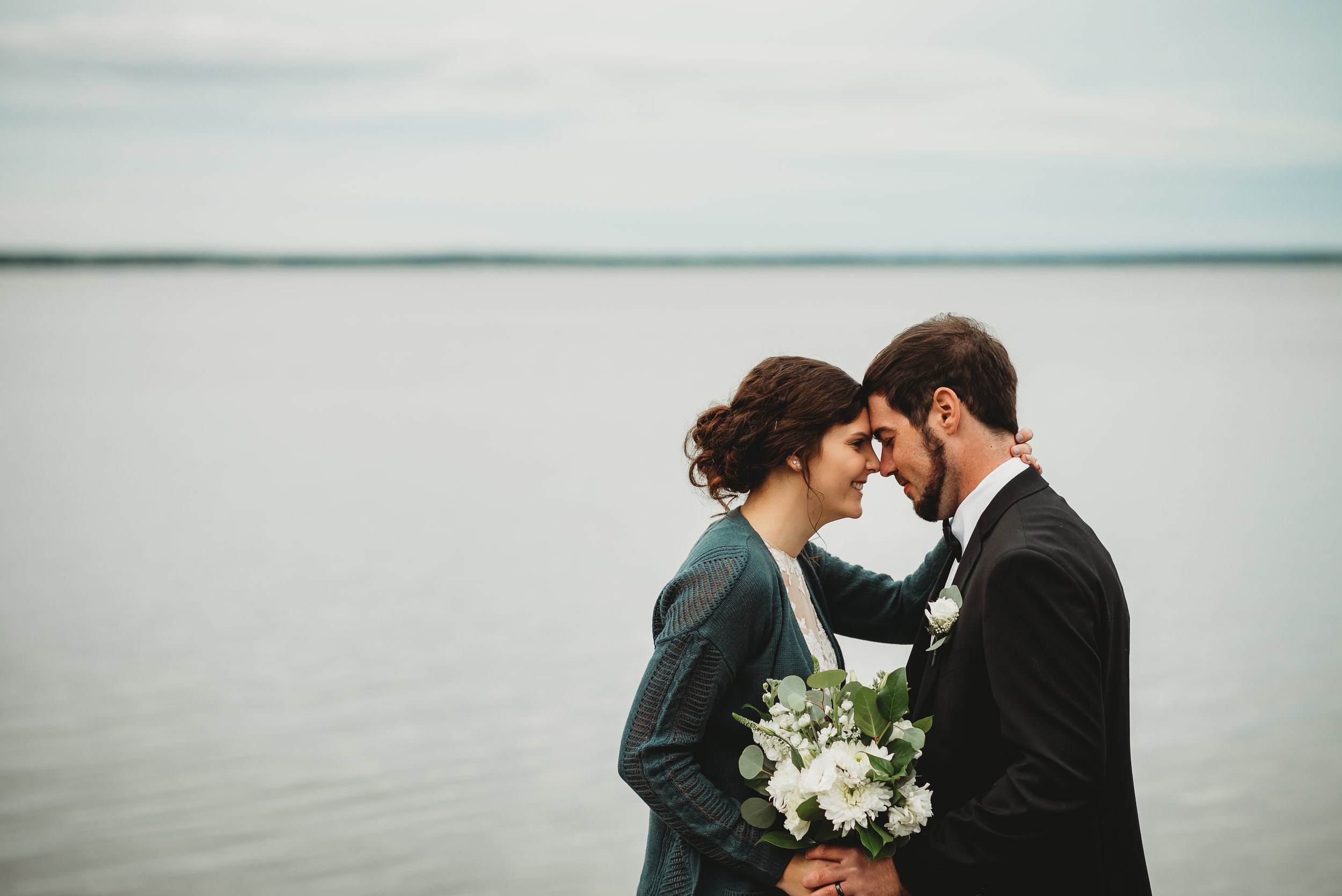 Houghton Lake Wedding Photographer | Beach Wedding Fall Lake Wedding