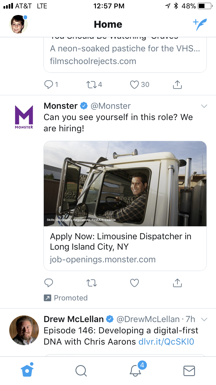 bad targeting on twitter from monster