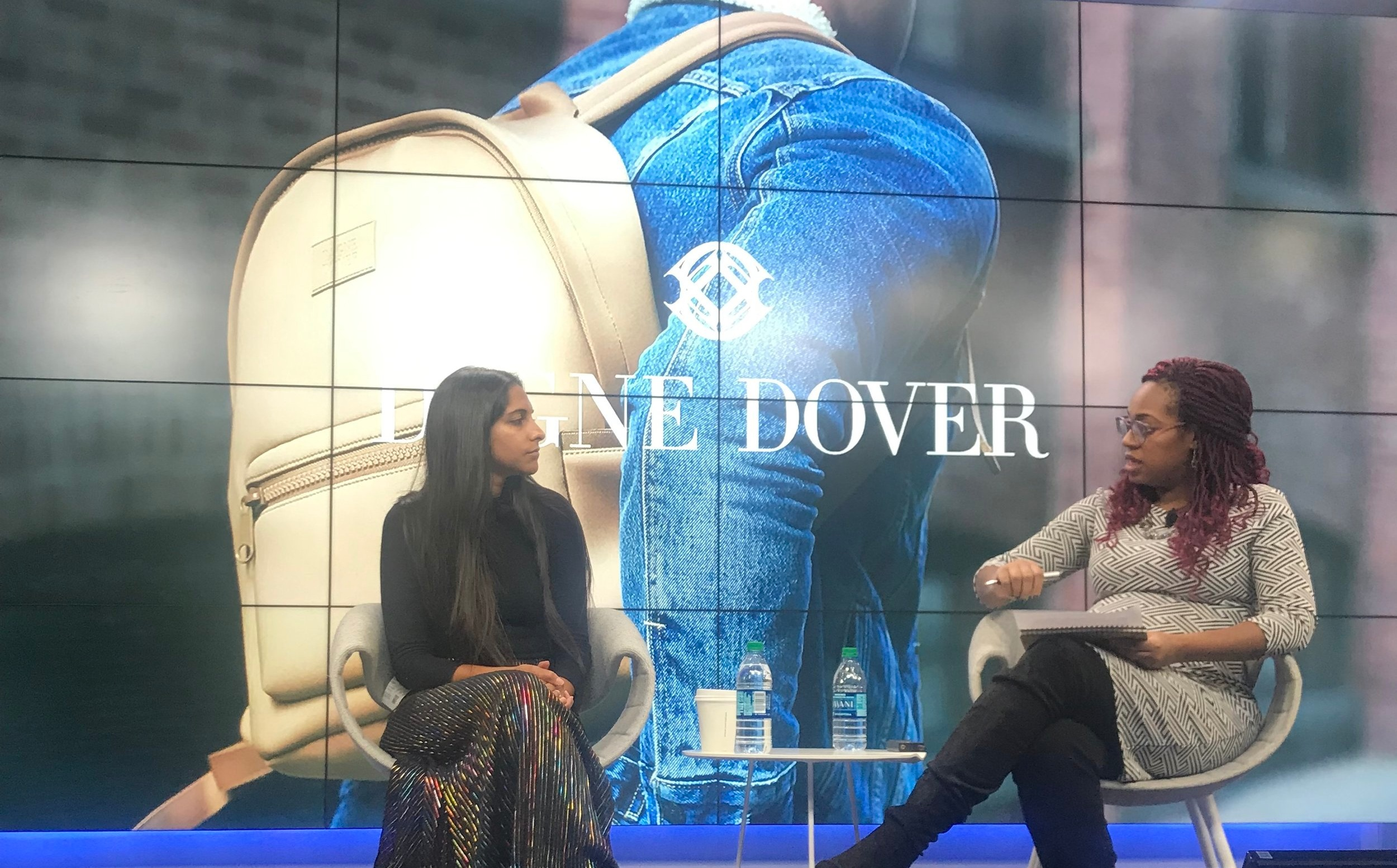 Deepa and Candace on Stage at Google on January 31st, during Dagne Dover's fire-side chat.