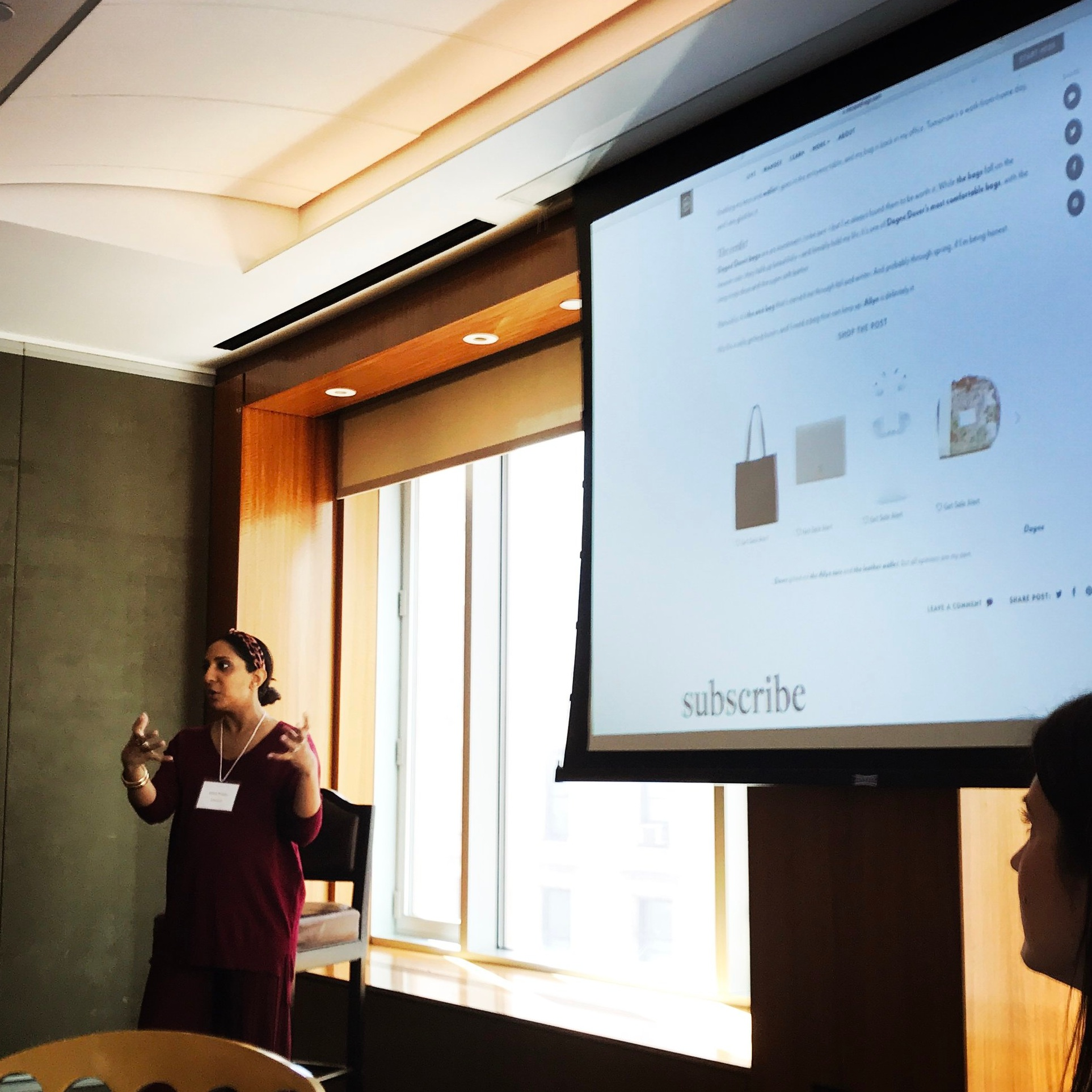 Micro Influencer Hitha Palepu addressing 30+ CMO's, VP's and Directors on March 27th at Mason Interactive's Lunch and Learn.