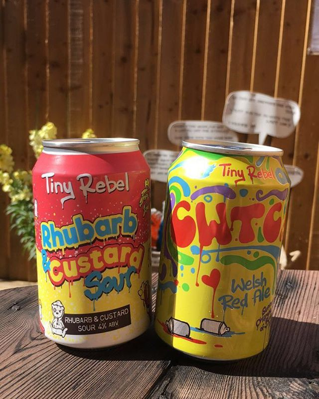 Two tasty treats from @tinyrebelbrewco one is a delicious rhubarb and custard sour beer and the other is their famous red ale cwtch #sourbeer #redale #tinyrebel #beer #manchester #prestwich