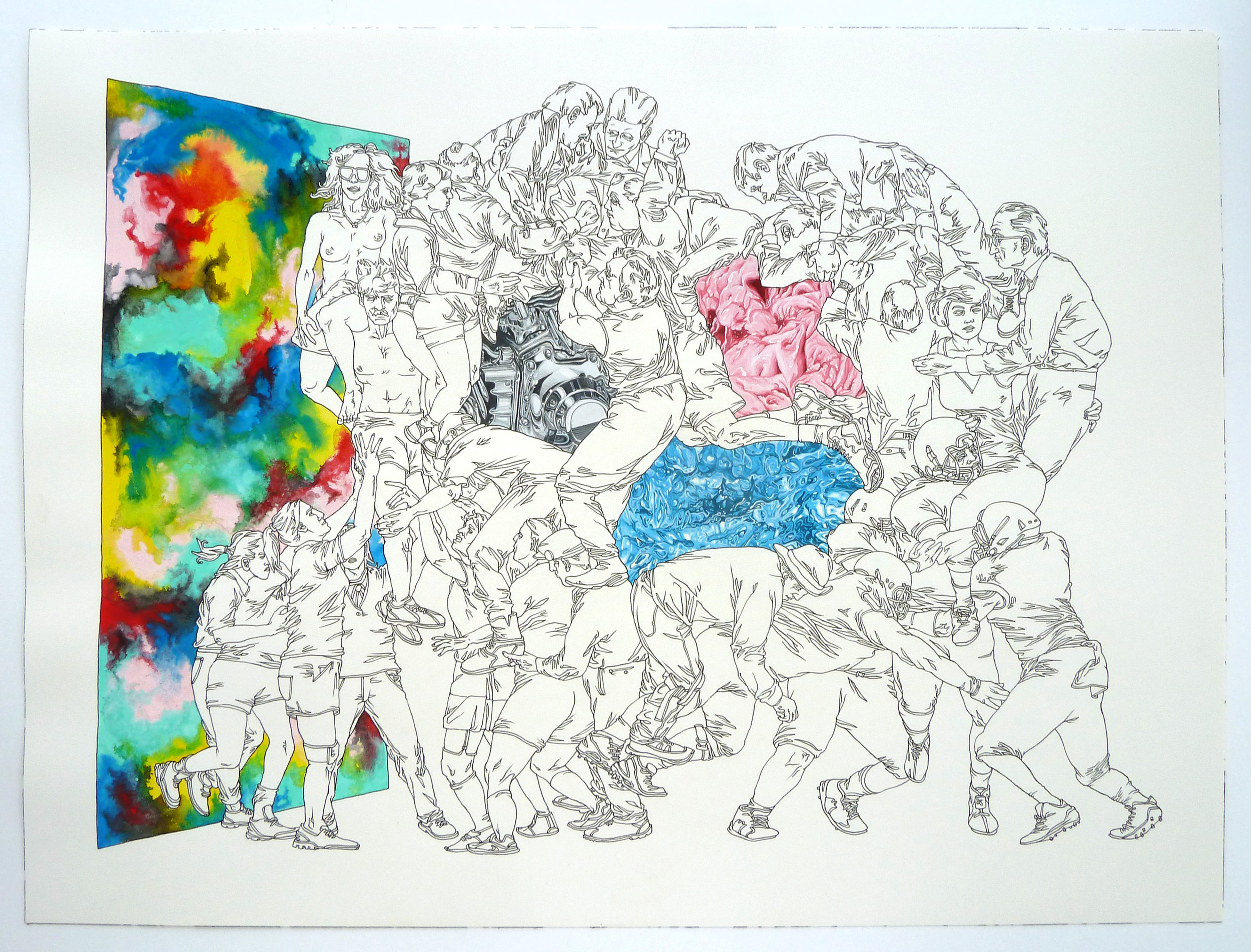 """Scrummage :o"" pen, watercolor and gouache on paper, 18""x24"""