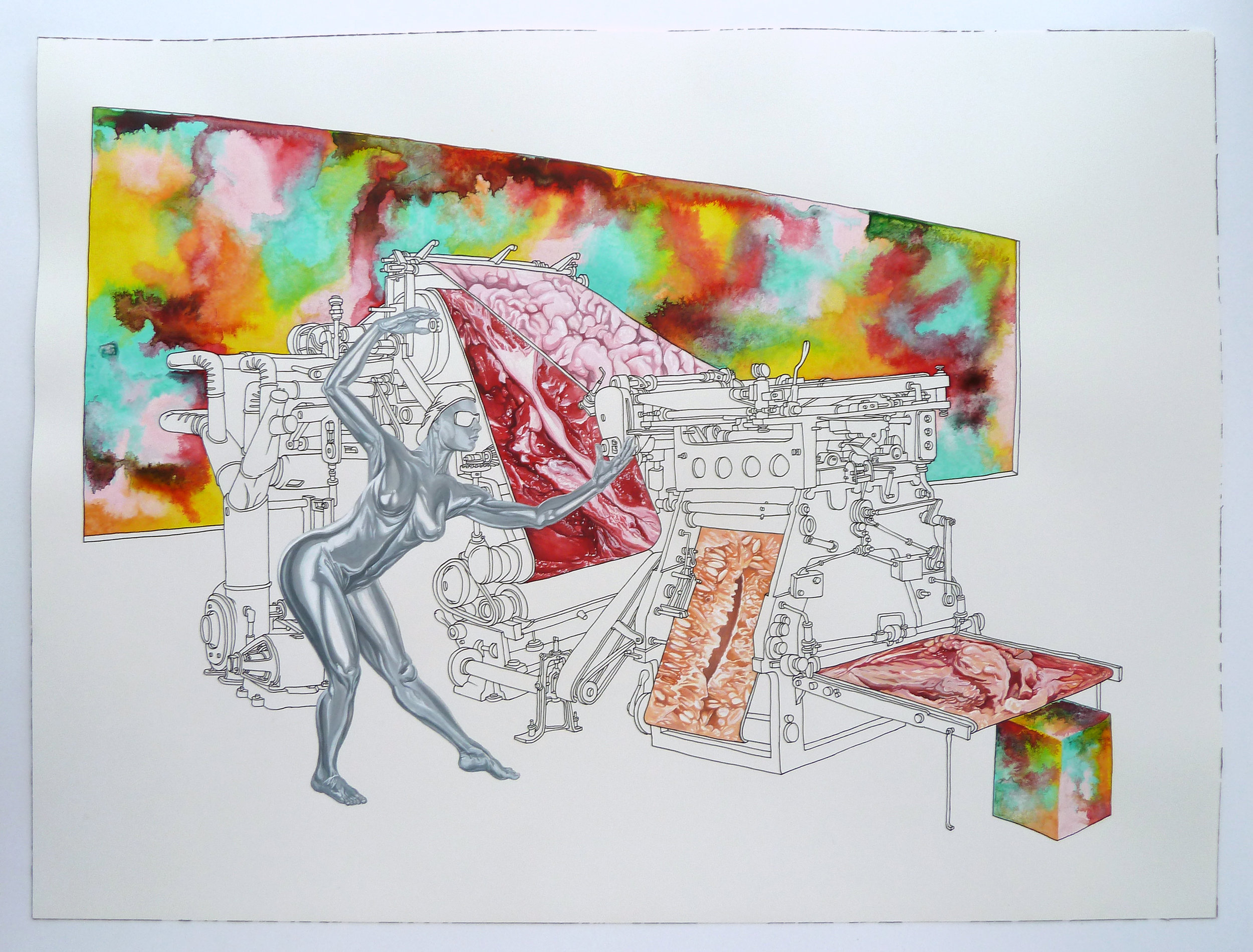 """""""Means of Production"""" Pen, watercolor, and gouache on paper. 18""""x24"""""""