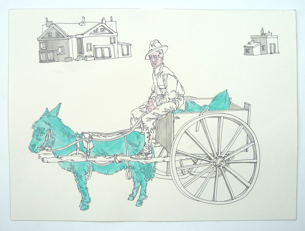 """Donkey Ride"" Pen and watercolor on paper, 11""x14"""