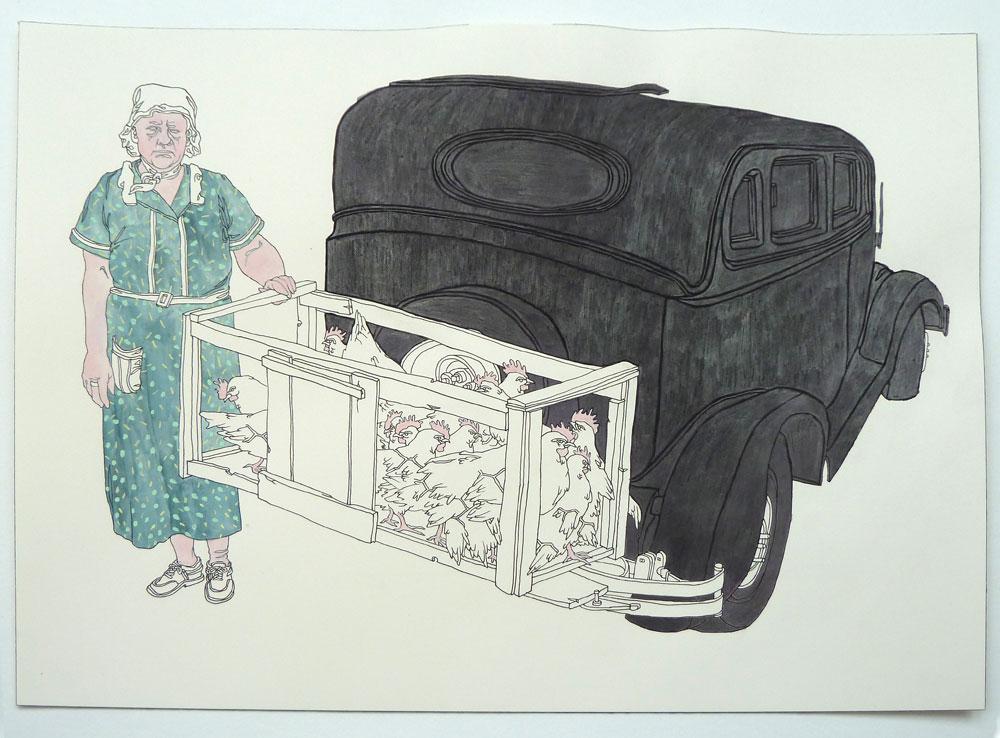 """""""Chicken Vendor"""" Pen, watercolor, and graphite on paper, 11""""x14"""""""