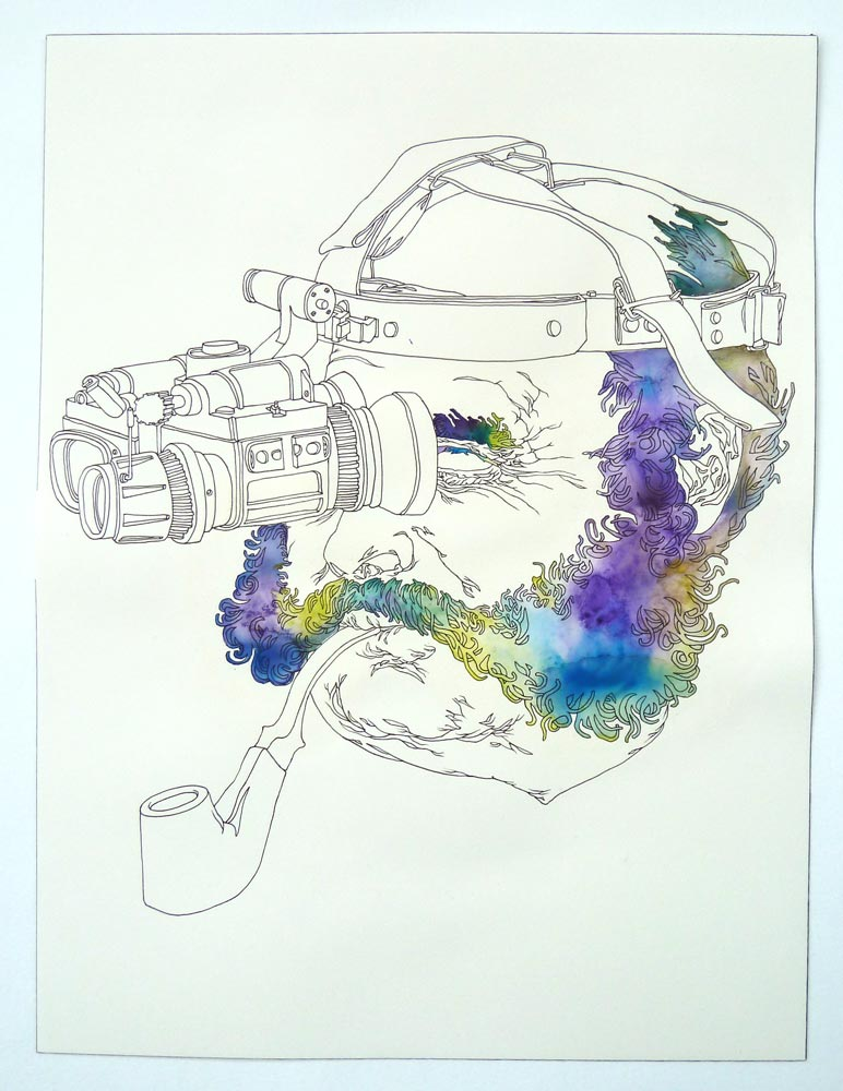 """MuttonChopperator"" Pen and watercolor on paper, 11""x14"""