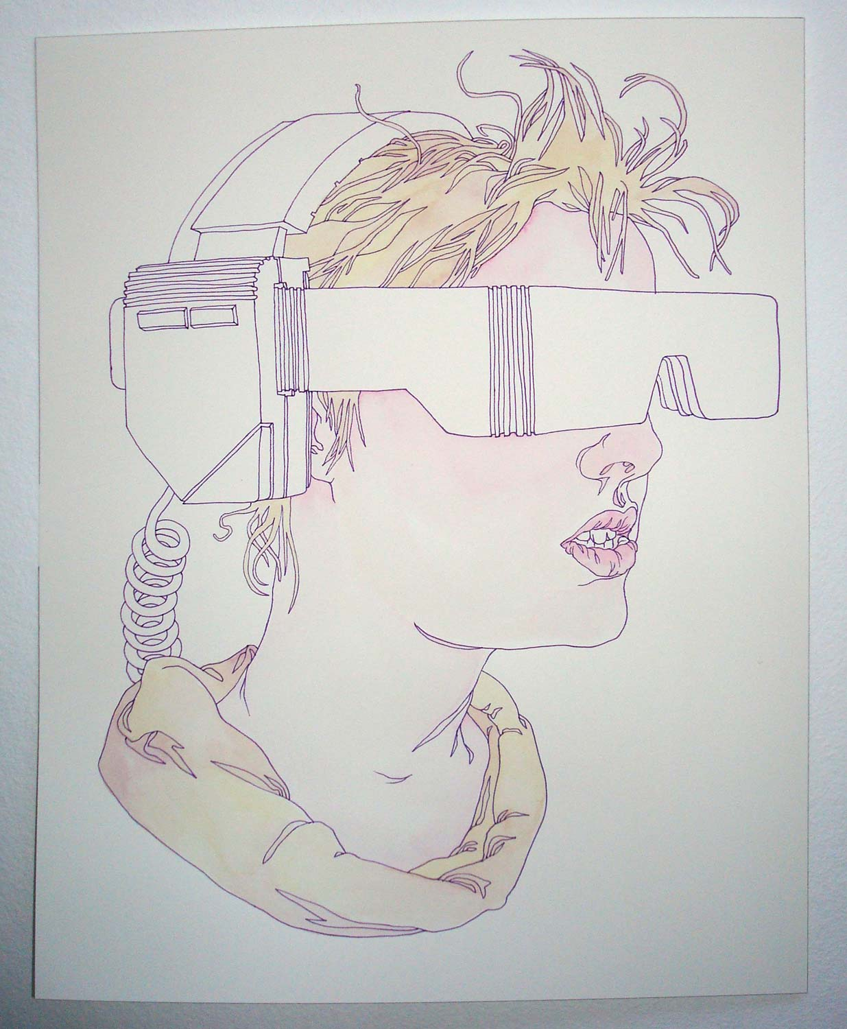 """""""TeleVisor"""" Pen and watercolor on paper, 11""""x14"""""""