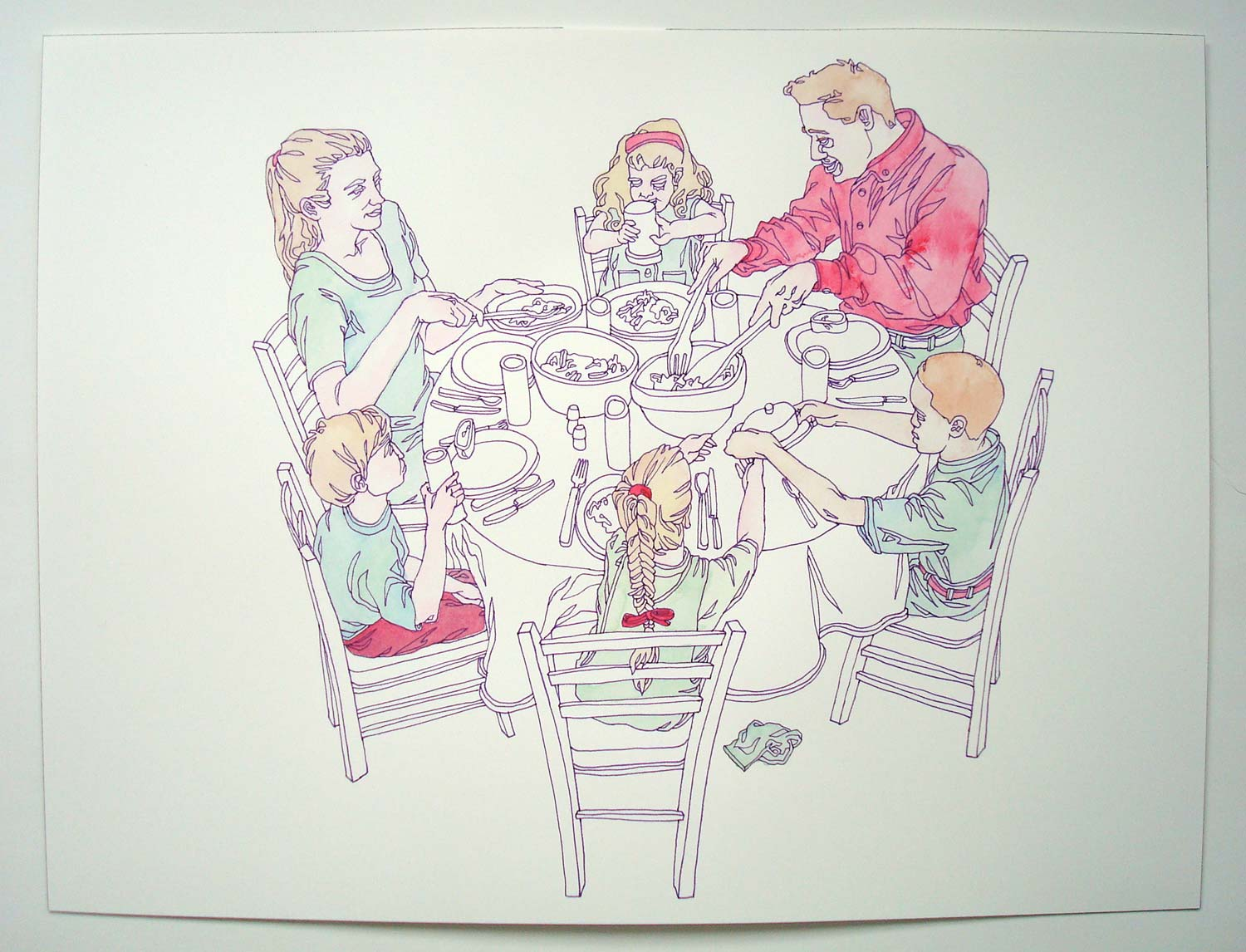 """""""Dinner Time"""" Pen and watercolor on paper, 11""""x14"""""""